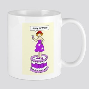 Happy Birthday Red Hat Lady Mugs