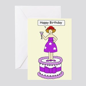 Happy Birthday Red Hat Lady Greeting Cards