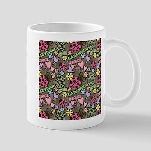 Peace, Love, Ladybugs Pattern Mugs