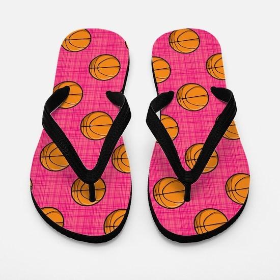 Bright Pink Basketball Pattern Flip Flops