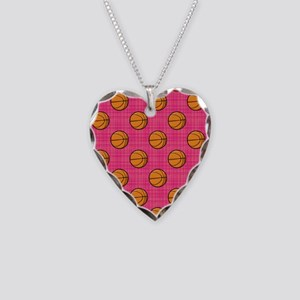 Bright Pink Basketball Pattern Necklace