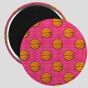 Bright Pink Basketball Pattern Magnets