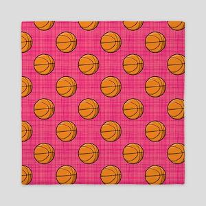 Bright Pink Basketball Pattern Queen Duvet
