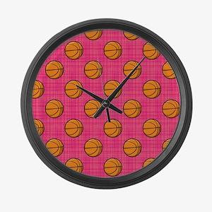 Bright Pink Basketball Pattern Large Wall Clock
