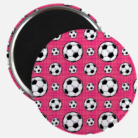 Bright Pink Soccer Ball Pattern Magnets