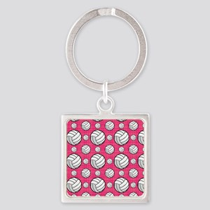 Bright Pink Volleyball Pattern Keychains