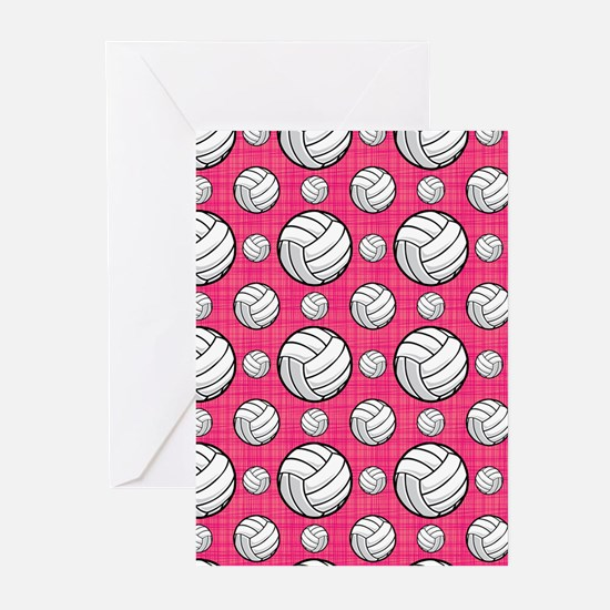Bright Pink Volleyball Pattern Greeting Cards