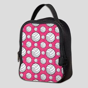 Bright Pink Volleyball Pattern Neoprene Lunch Bag