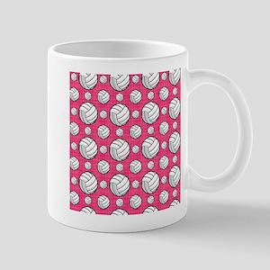 Bright Pink Volleyball Pattern Mugs