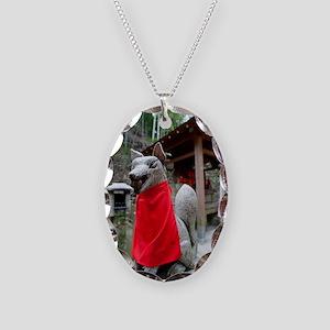 kitsune Necklace Oval Charm