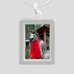 kitsune Silver Portrait Necklace