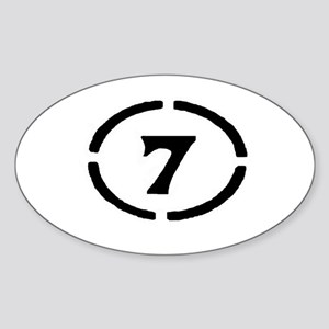 circle 7 black Sticker