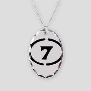 circle 7 black Necklace Oval Charm
