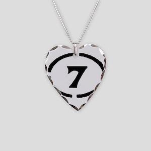 circle 7 black Necklace Heart Charm