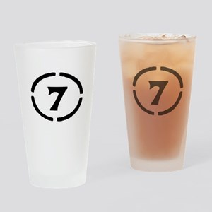 circle 7 black Drinking Glass