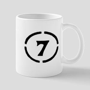 circle 7 black Mugs