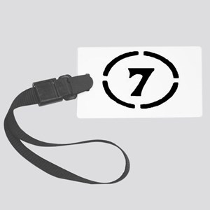 circle 7 black Large Luggage Tag