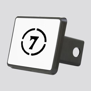 circle 7 black Rectangular Hitch Cover