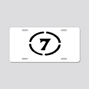 circle 7 black Aluminum License Plate