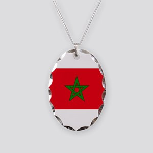 moorish flag, morocco glag, mo Necklace Oval Charm