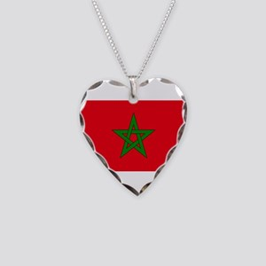 moorish flag, morocco glag, m Necklace Heart Charm