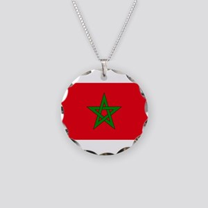 moorish flag, morocco glag, Necklace Circle Charm