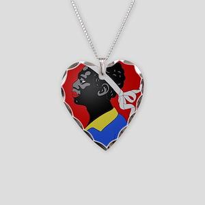moorish head in red Necklace Heart Charm