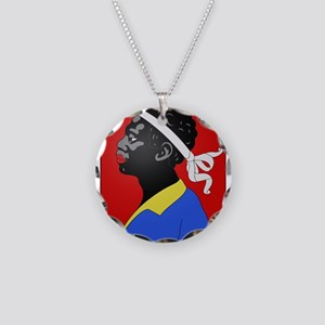 moorish head in red Necklace Circle Charm