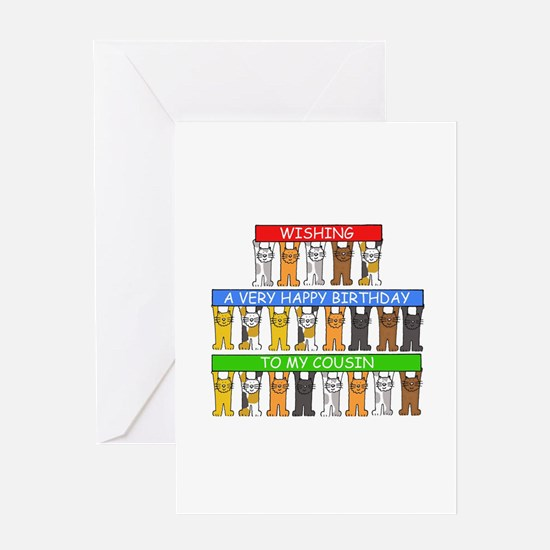 Cousin Happy Birthday Cats Greeting Cards