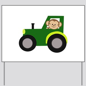 Monkey Driving Tractor Yard Sign