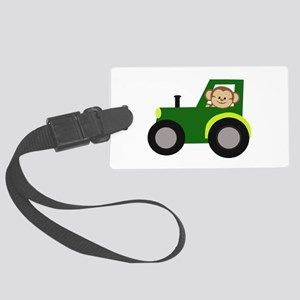 Monkey Driving Tractor Luggage Tag