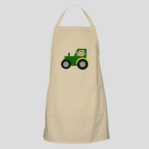 Monkey Driving Tractor Apron