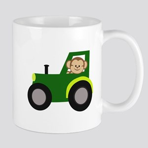 Monkey Driving Tractor Mugs