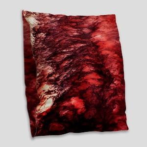 Red Wake Burlap Throw Pillow