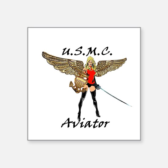 "Marine Aviator Square Sticker 3"" x 3"""