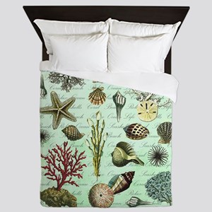 modern vintage french seashells Queen Duvet
