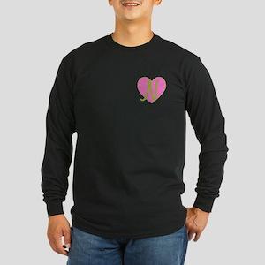 Pink Heart Monogram Initial N Long Sleeve Dark T-S
