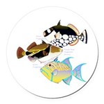 3 Triggerfish Round Car Magnet