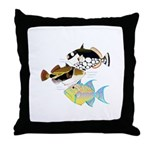 3 Triggerfish Throw Pillow