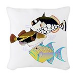 3 Triggerfish Woven Throw Pillow
