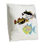 3 Triggerfish Burlap Throw Pillow