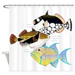 3 Triggerfish Shower Curtain