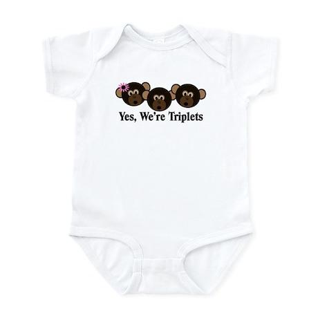Triplets Baby Monkeys 1g 2b Infant Bodysuit