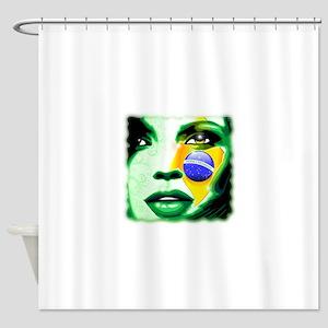 Brazil Flag Girl Portrait Shower Curtain