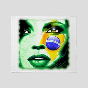 Brazil Flag Girl Portrait Throw Blanket