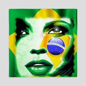 Brazil Flag Girl Portrait Queen Duvet