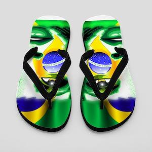 Brazil Flag Girl Portrait Flip Flops