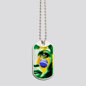Brazil Flag Girl Portrait Dog Tags