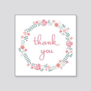 thank you in floral laurel wreath Sticker