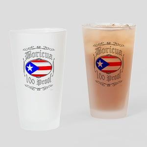 Boricua 100 Proof2 Drinking Glass